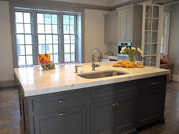 Gray kitchen design with charcoal gray kitchen island with marble ...