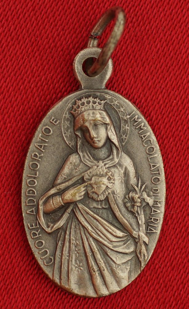 738351165ba Vintage SACRED HEART OF JESUS Medal SORROWFUL & IMMACULATE HEART OF MARY  Medal
