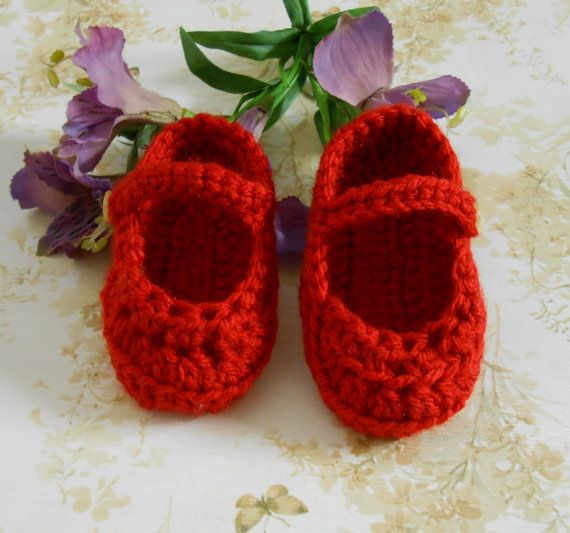 Deep Red Crochet Baby Booties, Red Baby Shoes