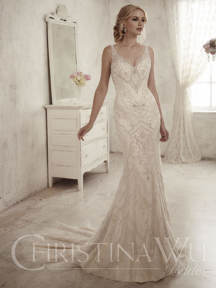 Christina wu this slimming heavily beaded design has an