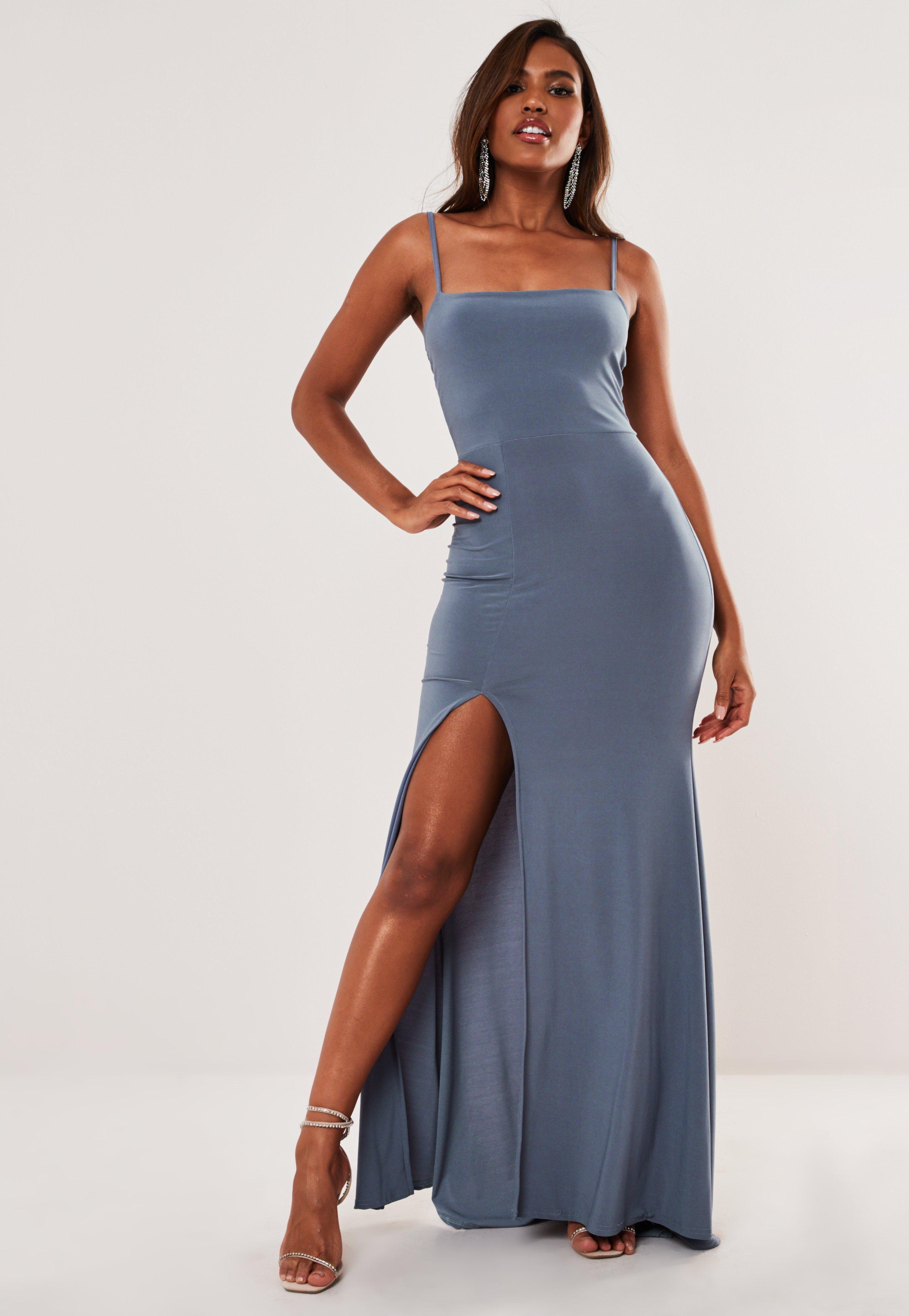 Blue Slinky Square Neck Side Split Maxi Dress Sponsored Square Aff Neck Blue [ 4200 x 2900 Pixel ]