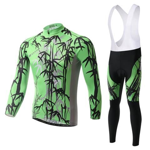 Men s Green Bamboo Long Sleeve Cycling Jersey Set  Cycling  CyclingGear   CyclingJersey  CyclingJerseySet cbda36200
