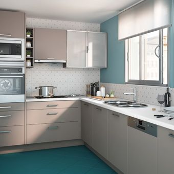 Resultado de imagen para pintar una cocina con muebles - Cocinas pintadas fotos ...