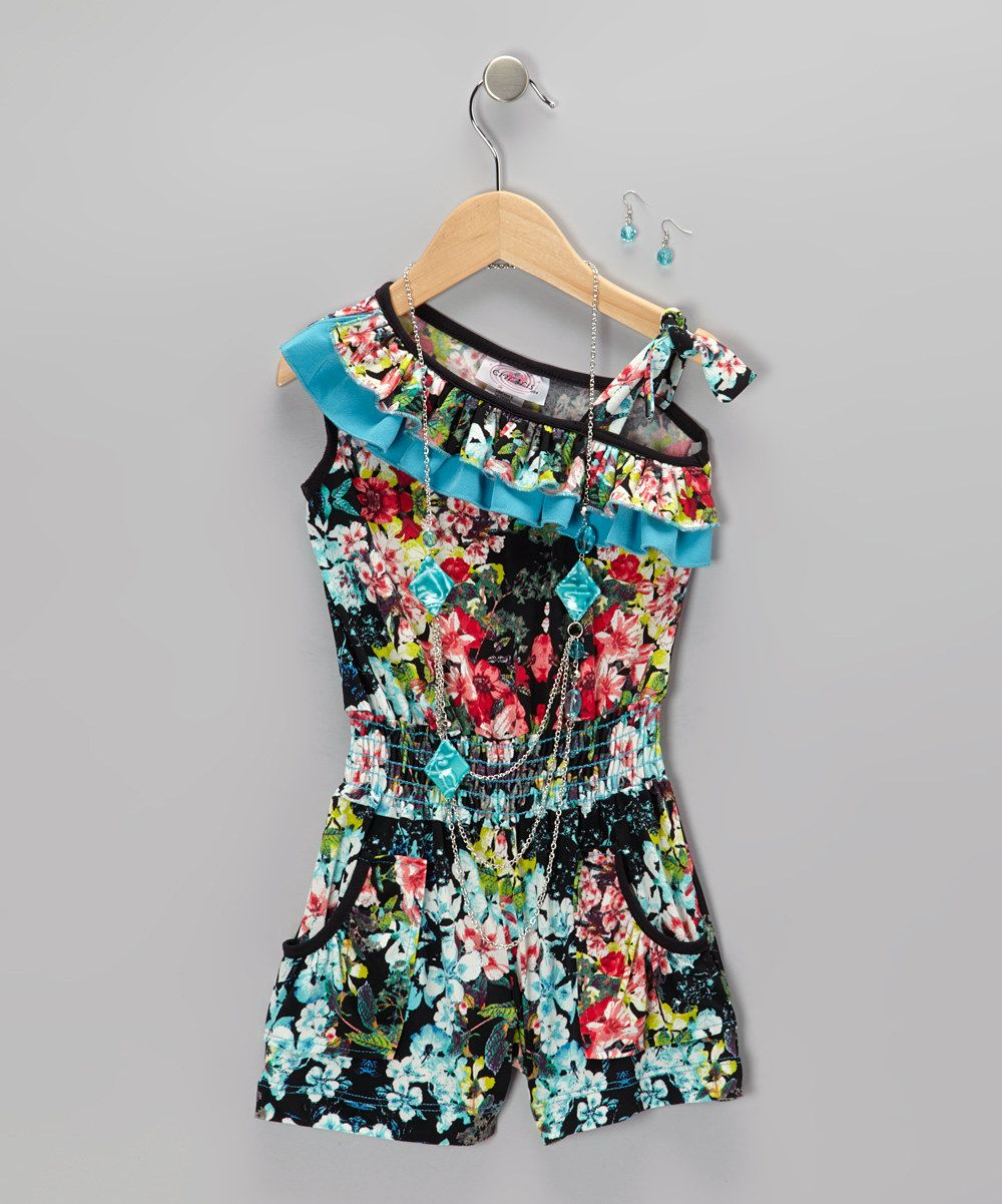 Look what I found on #zulily! Turquoise Floral Romper Set - Toddler & Girls by Citlali's Choice #zulilyfinds