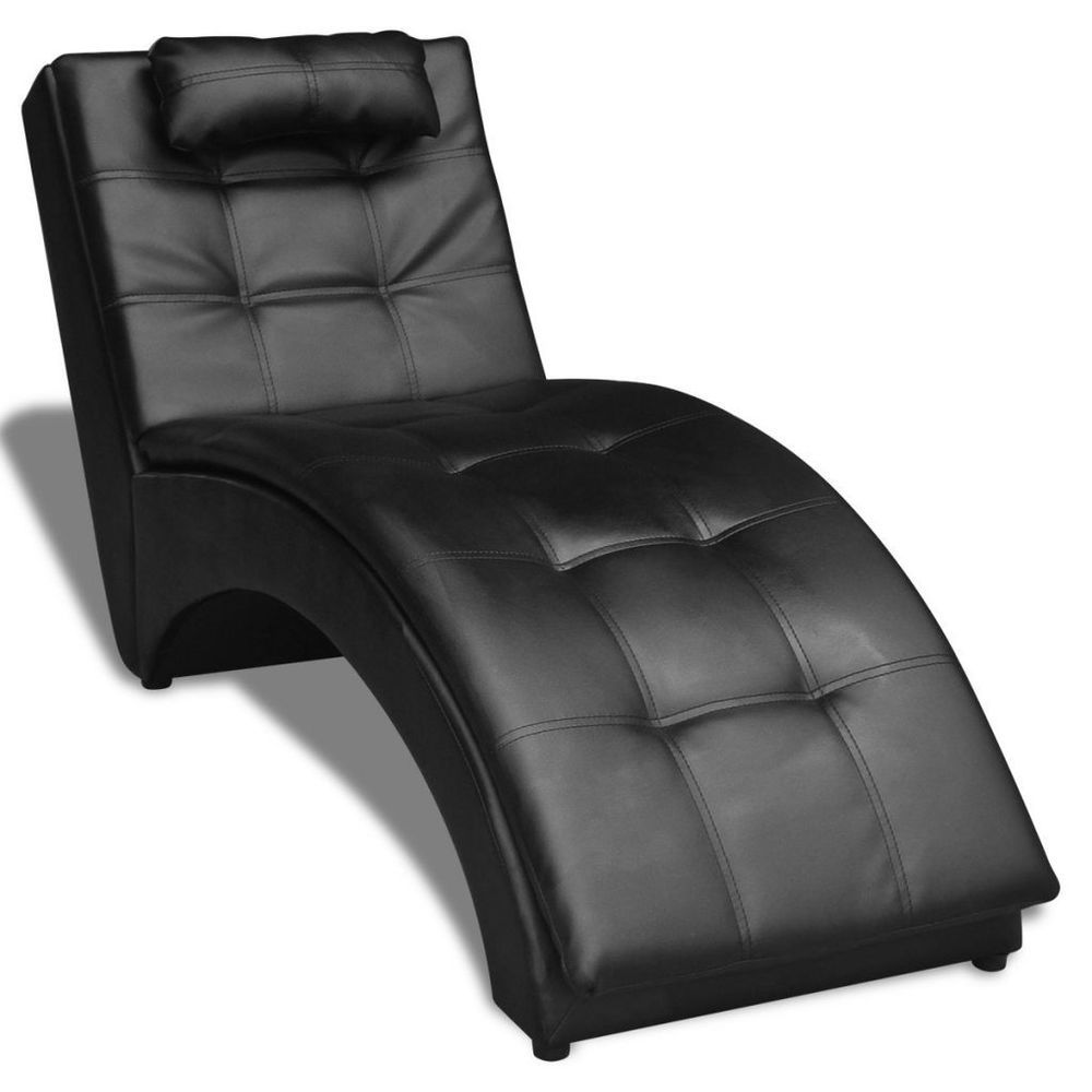 Chaise Lounge Indoor Artificial Leather Black With Pillow Living ...