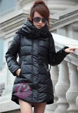 Celeb style long black puffer coat