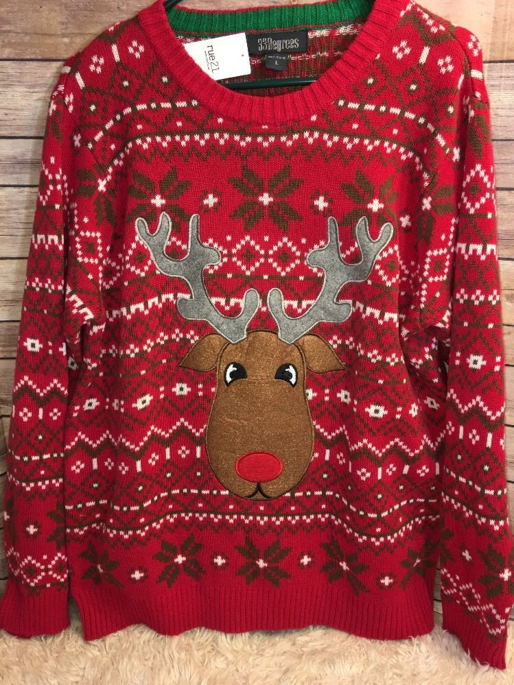 33 Degrees Rue21 Men's Lg. Ugly Christmas Sweater Reindeer Red ...