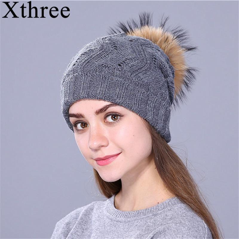 052035a547471 Xthree Real Raccoon Fur Pom Pom Hat Female Knitted Winter Hats For Gir –  FuzWeb