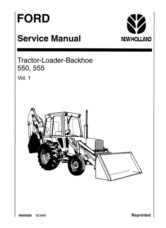 Ford 550 And 555 Backhoe Loader Service Manual Backhoe Loader Backhoe Ford