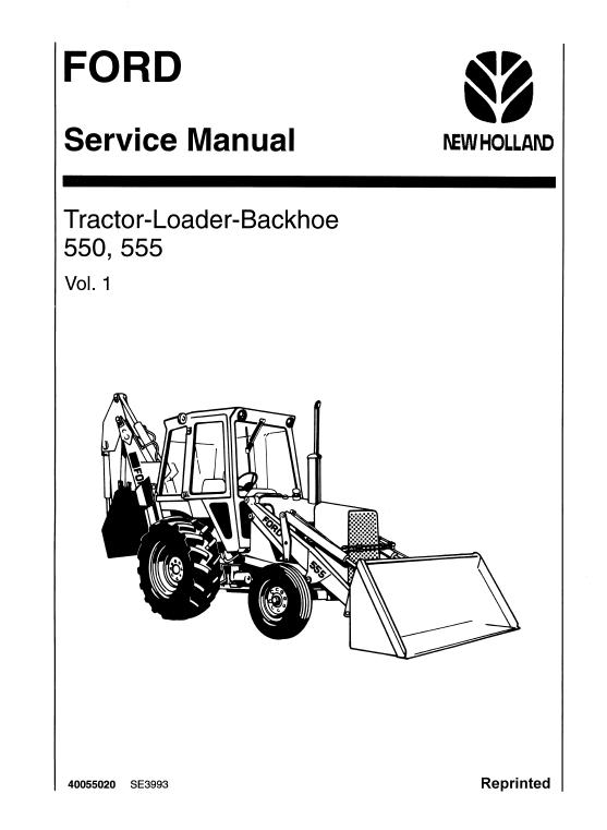Ford 550 And 555 Backhoe Loader Service Manual Backhoe Loader Backhoe Ford