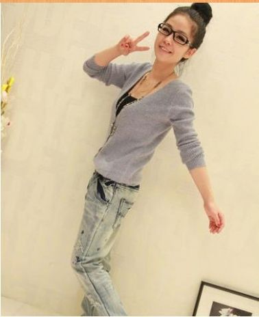 V-Neck Long Sleeve Knitting Cardigan on BuyTrends.com, only price $16.67