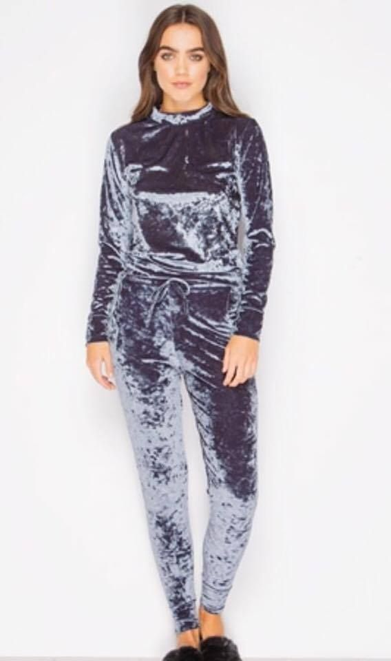 02c58d7042a Womens Velour Velvet Tracksuit Sweatshirt Top Jogger Loungewear 2 Piece Set  8-16
