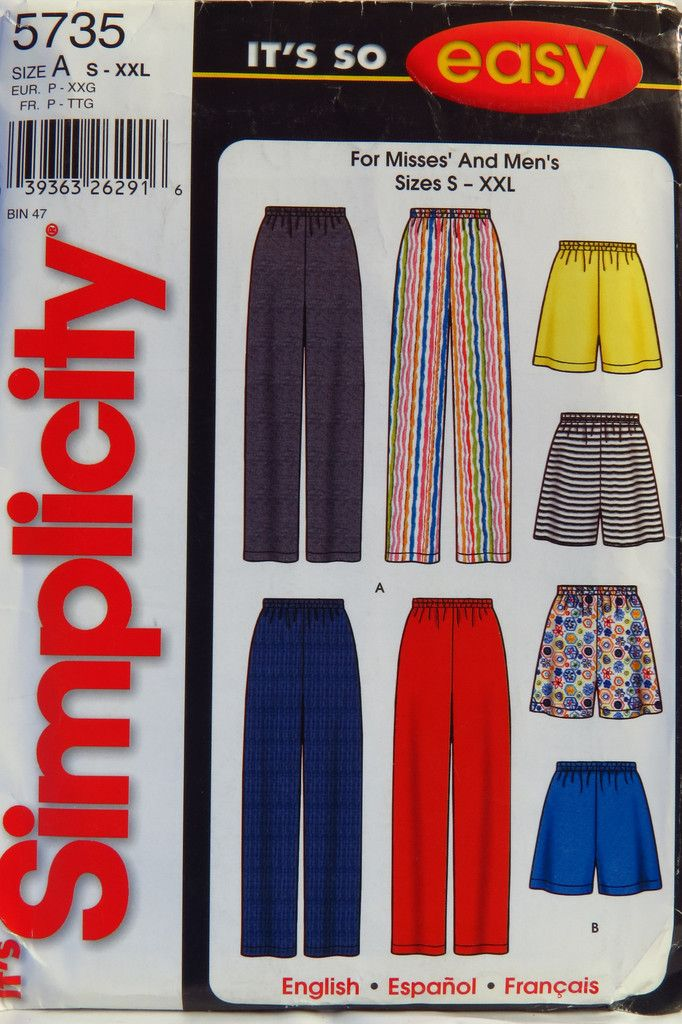 878720a88d81 Simplicity 5735 Misses  Men s Pants and Shorts Easy Sewing Patterns