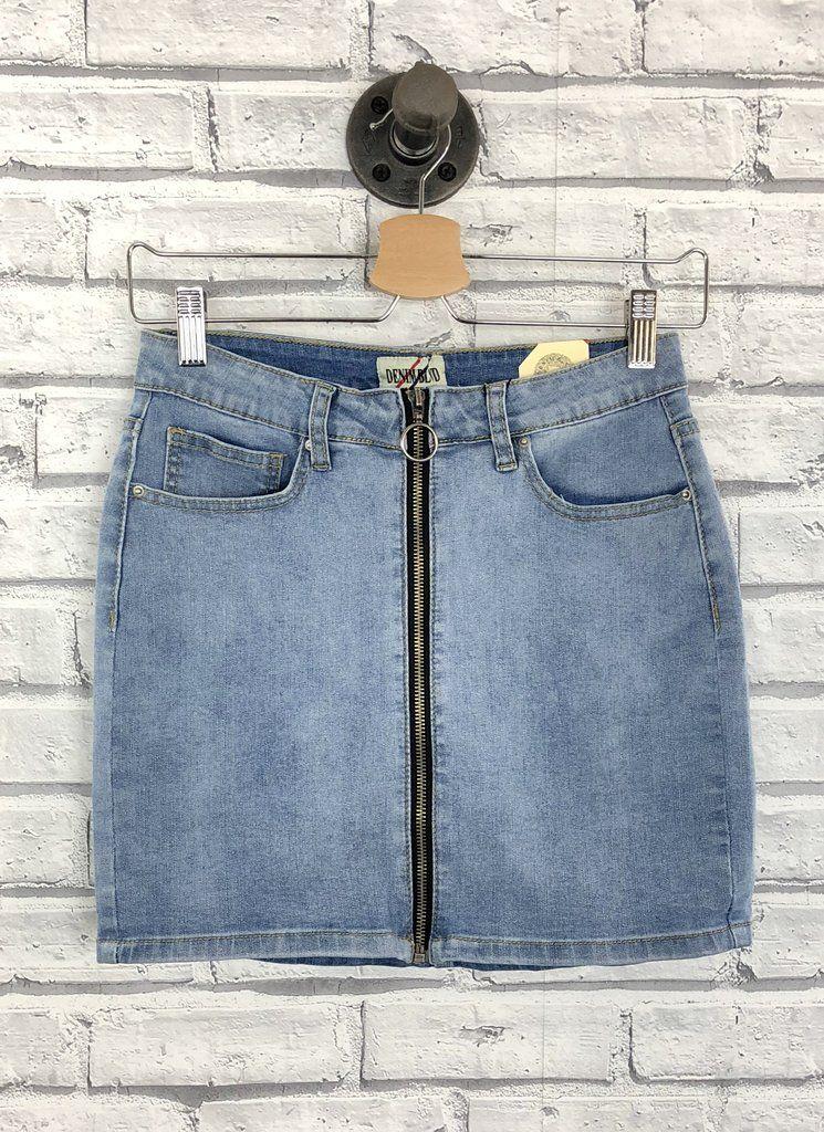 f0981ebe1e Zip-up denim skirt | Denim | Denim skirt, Denim, Long denim skirt outfit