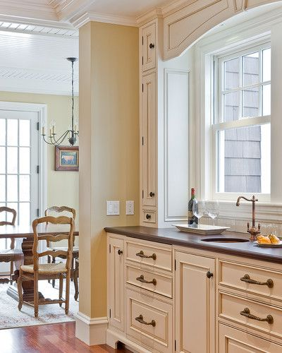 White Cabinets With Brown Glaze: The Glaze Color Is Antique White With Brown Glaze. I Like