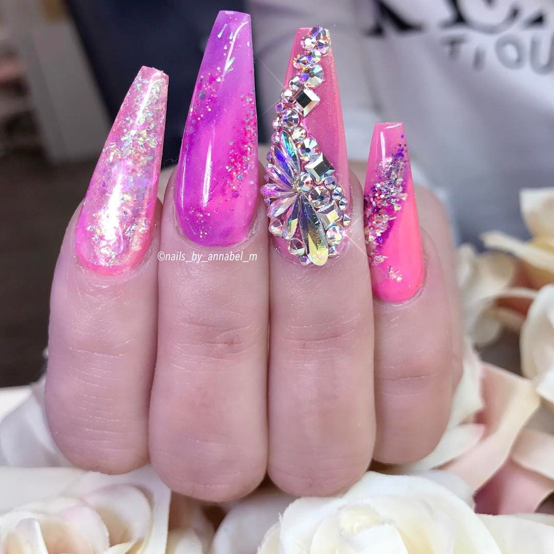 Cute coffin shaped nails with pink polish and rhinestone nail art ...