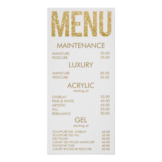 Black & Gold Glitter Salon Menu Wall Poster | Zazzle.com