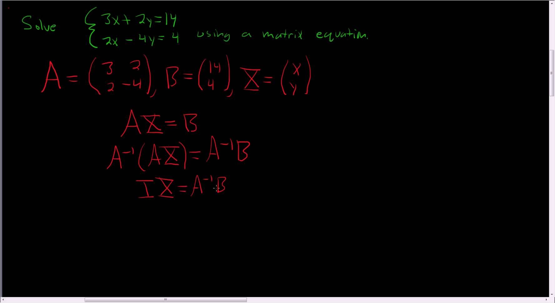Solving A System Of Equations With A Matrix Equation