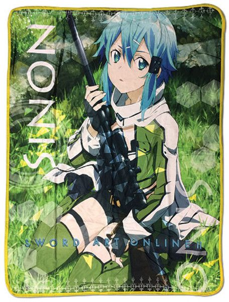 Sword Art Online Sinon Fleece Throw Blanket Anime Manga NEW