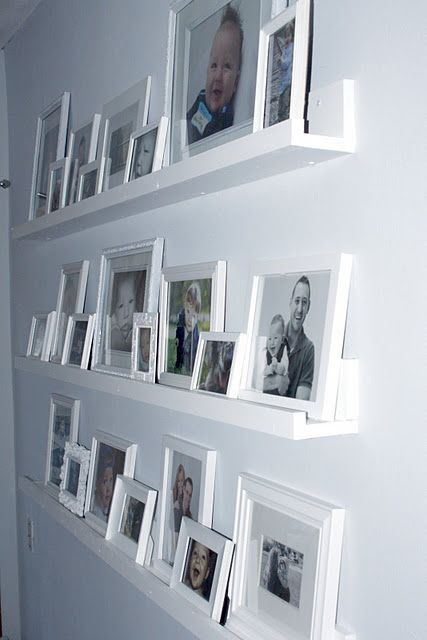 gallery wall shelves another project for hubby home pinterest w nde fotowand und haus. Black Bedroom Furniture Sets. Home Design Ideas