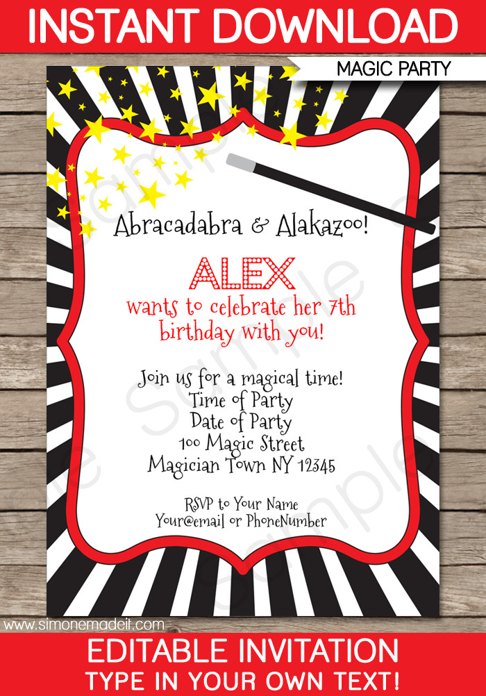 Magic Party Invitations Template Magic Party Party Invitations - Birthday party invitation maker downloads