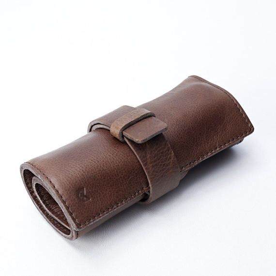 a55e8b90050c8 Brown Leather Watch Roll, 2-6 Watches, Men Travel Watch Storage ...