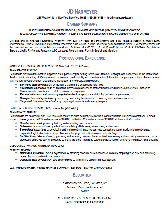 Bank administrative assistant resume