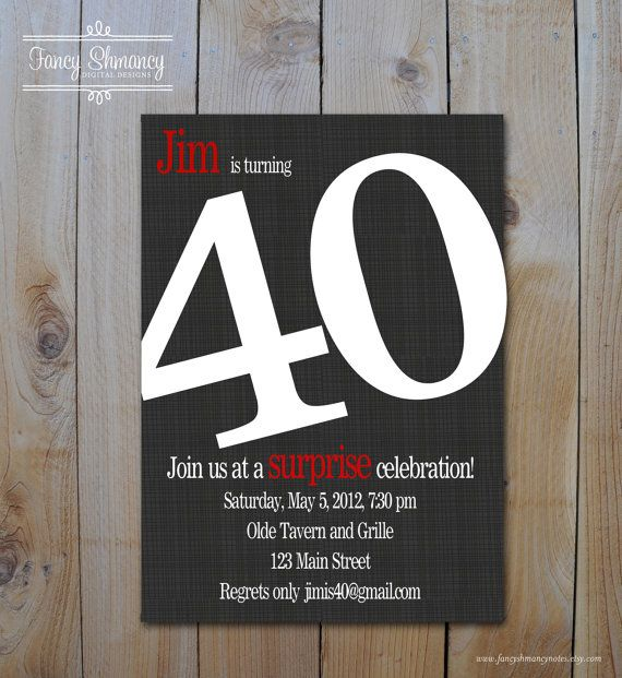 40th Birthday Invitations Any Age Bold Number Invitation On Black Printable