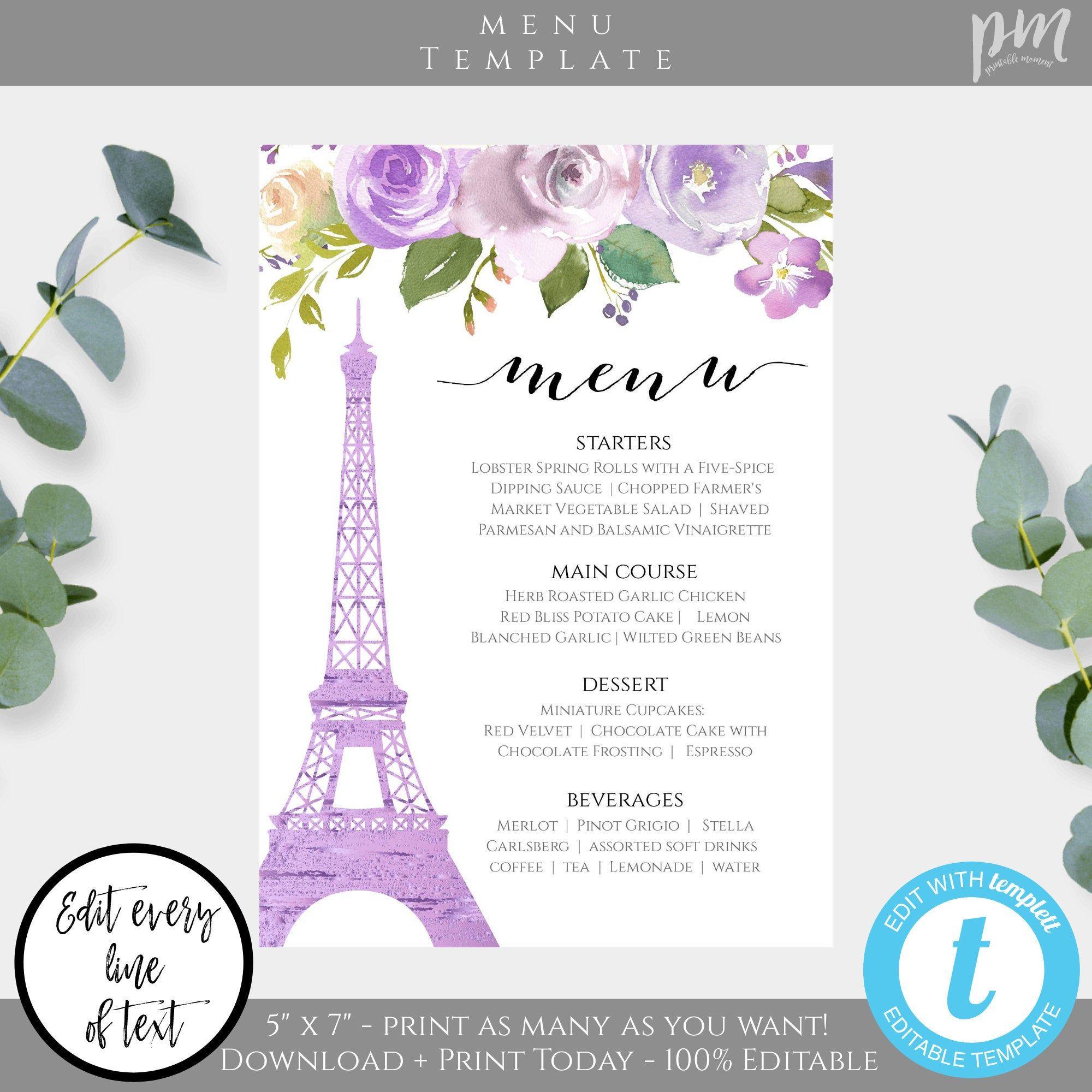 Drinks Party Menu Card Rustic Wedding Bar Menu Purple Flowers /& Gold Wedding Bar Menu Baby Shower Bridal Shower Printable Menu Template