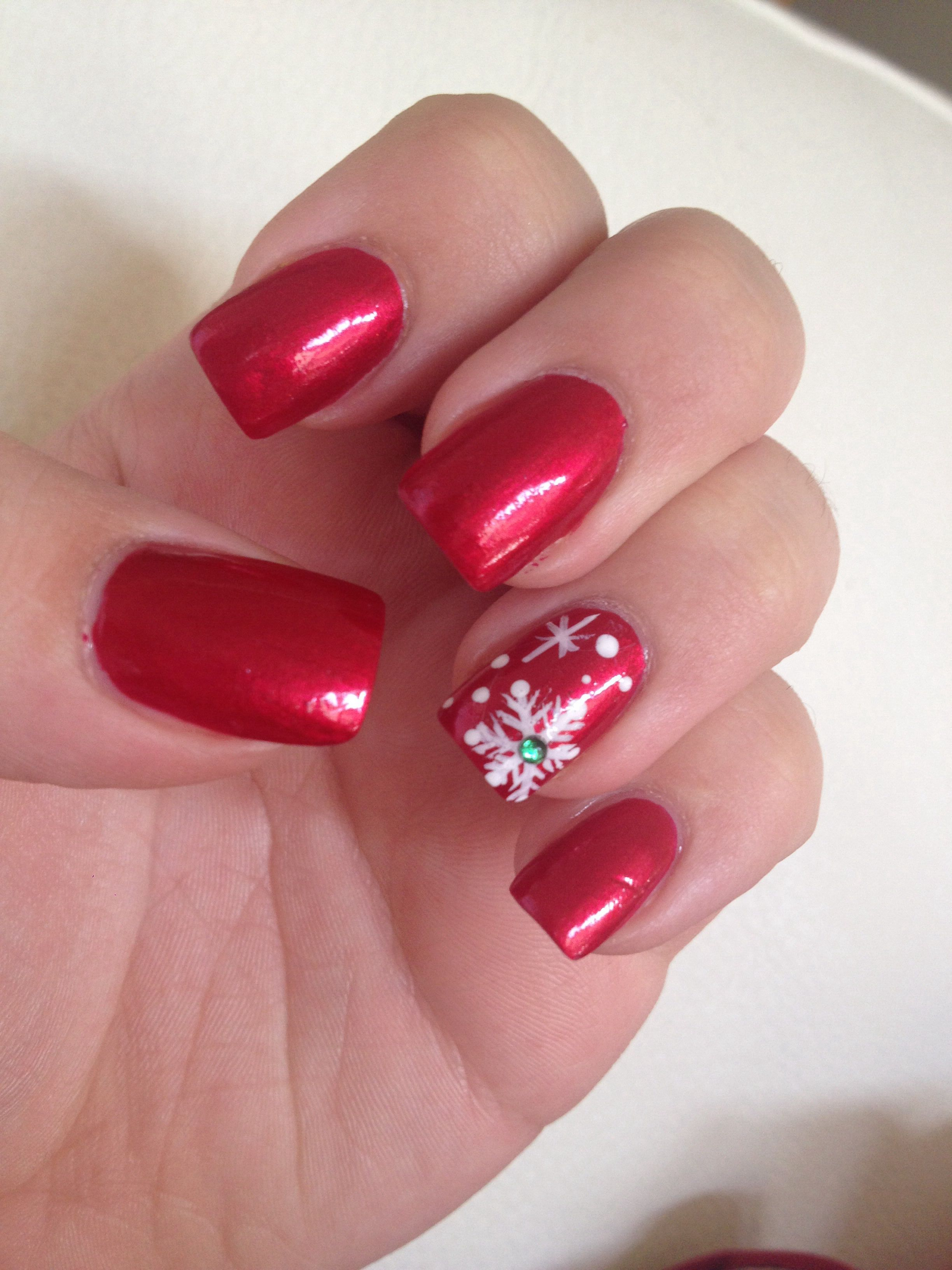 Red Christmas nails snowflake Red christmas nails