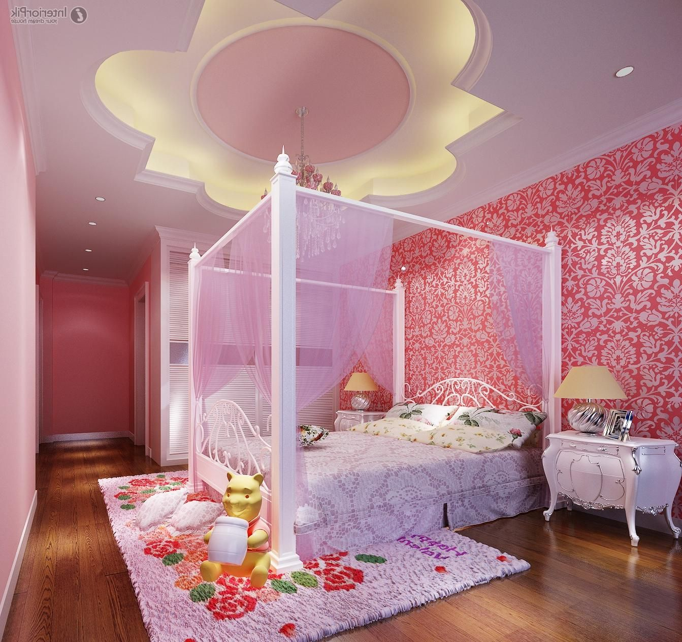 Amazing Girls Bedroom Decoration With Led Lighting In Floral Ceiling Including Pink Wallpaper Girl Bedroom Decor Girl Bedroom Designs Kids Bedroom Design Girls