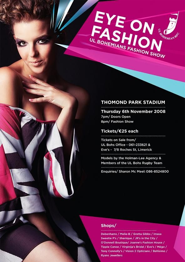 UL Bohs Fashion Show in Thomond Park Fashion posters - fashion design posters