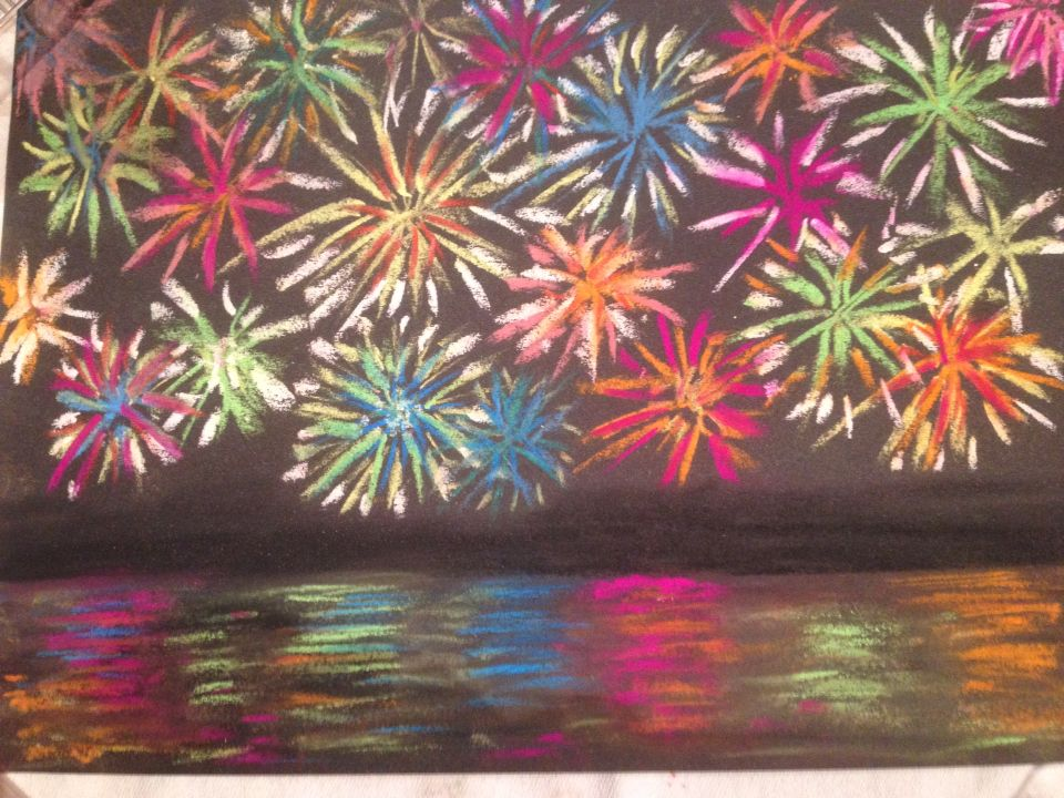 Soft pastel fireworks and reflections | School | Pinterest