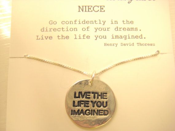 live the life you imagined necklace gift for niece niece