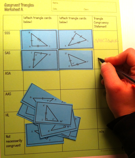 Congruent Triangles Activity Sss Sas Asa Aas And Hl