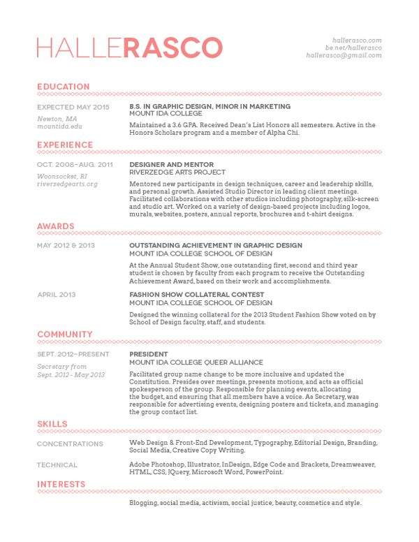 Halle Rasco - Student Resume Design by Halle Rasco, via Behance I - graphic design student resume