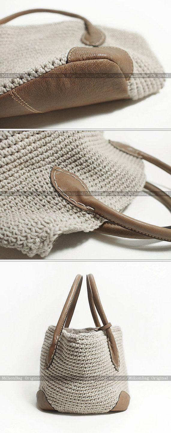 Genuine Leather Knitting Handmade Purse Shoulder by MillionKnit