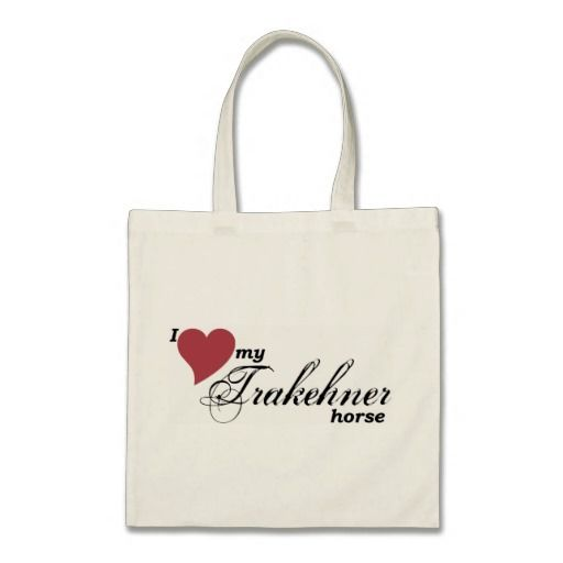 """""""I love my Trakehner horse"""" tote bag by Forelock and Feather equestrian gifts."""
