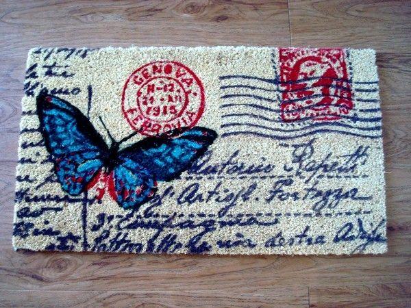 paillasson originaux au papillon ou carpe diem. Black Bedroom Furniture Sets. Home Design Ideas