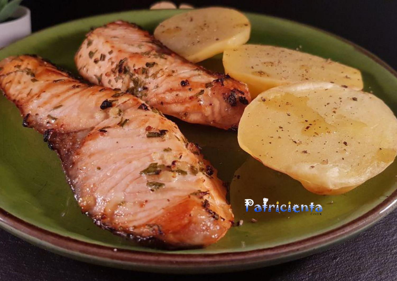 Salmón Con Patatas A La Cerveza En Freidora De Aire Receta De Patricienta Cook Receta Como Cocinar Salmon Recetas Para Freidora Freidora De Aire