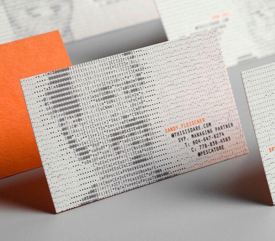 DARE Vancouver u2013 Letterpress business cards designed with an - letterpress business card