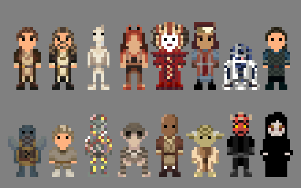 Star Wars Phantom Menace Characters 8 Bit By