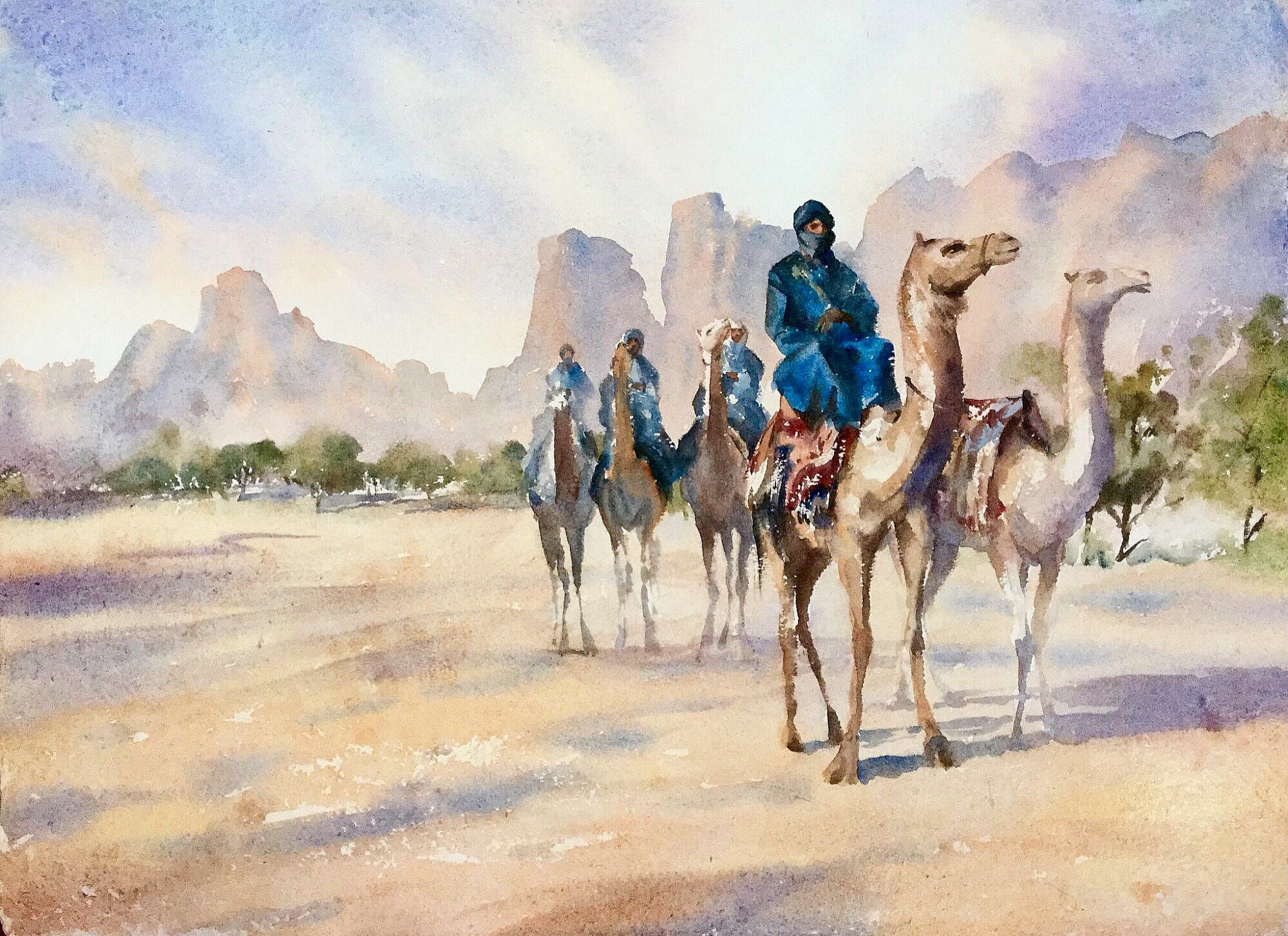 The Bedouin Riders Watercolour From The New Orientalist