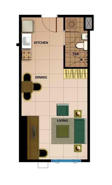 1 Bedroom Unit Layout Studio Apartment Condominium Floor Plans
