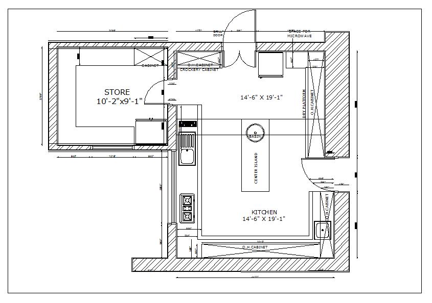 Residential Kitchen Plan View Detail Dwg File Cadbull Kitchen Plans Kitchen Interior Design Decor How To Plan