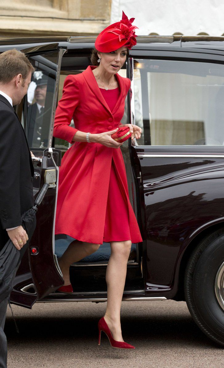 Kate, joined Prince William and the royals for the annual service at  Windsor Castle today. She defied the rain in a vibrant red Catherine Walker  coat which ...