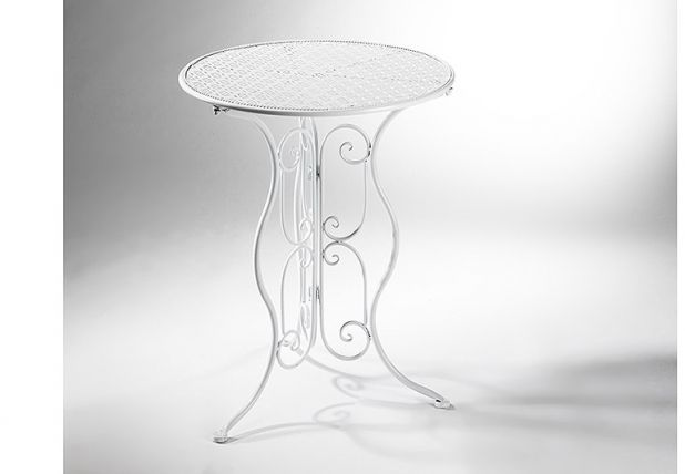 Gartentisch Aus Metall Weiss Rund Shabby Chic Gartentisch