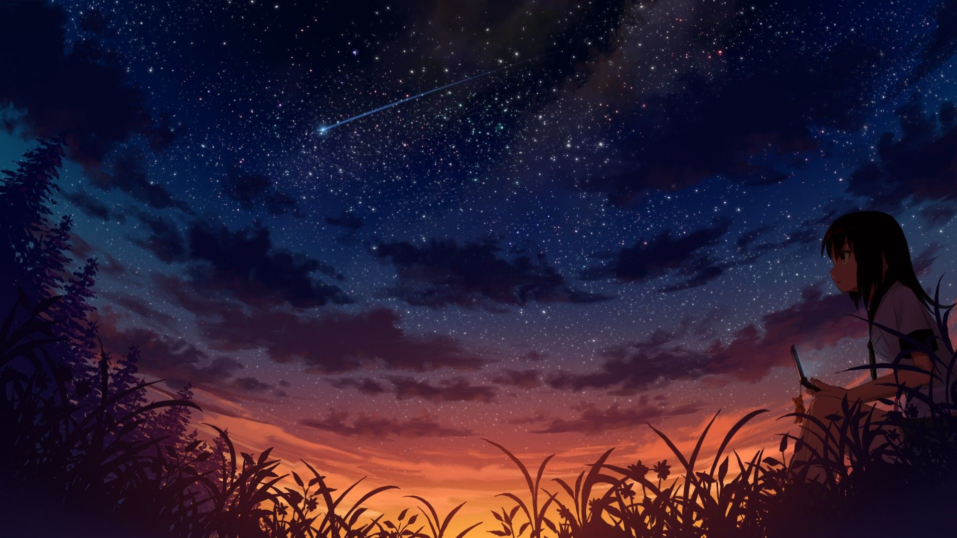 Anime Landscape Stars Sky Anime Girls Clouds Sunset Grass Trees School Uniform Wallpaper No 356 Sky Anime Scenery Wallpaper Anime Scenery