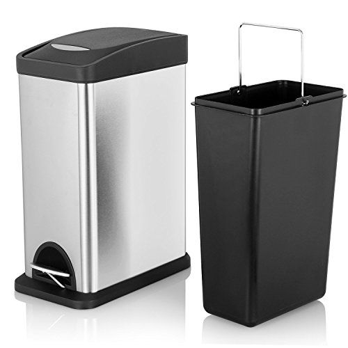 Bon Fortune Candy Slim Rectangular Kitchen Trash Can,Stainless Steel Brushed  Finish,Dent Proof