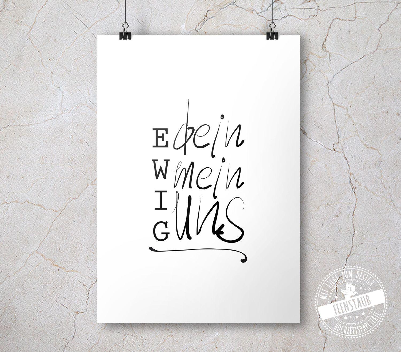 """Hochzeit Print, Leinwand """"Ewig dein, Ewig mein, Ewig uns"""" – feenstaub.at"""